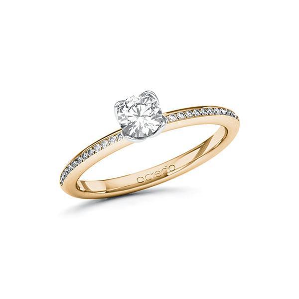Verlobungsring in Roségold 585 Weißgold 585 mit 0,4 ct. + zus. 0,13 ct. Brillant tw, vs tw, si von acredo - A-ZXBSP-EW5-1R5PQ5Z