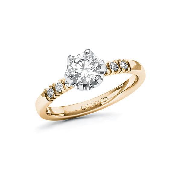 Verlobungsring in Roségold 585 Weißgold 585 mit 0,7 ct. + zus. 0,12 ct. Brillant tw, si von acredo - A-101ZE1-EW5-1RDX6YZ