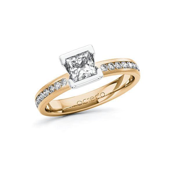 Verlobungsring in Roségold 585 Weißgold 585 mit 0,7 ct. + zus. 0,24 ct. Prinzess-Diamant tw, vs tw, si von acredo - A-10FQDG-EW5-1R9YVRZ