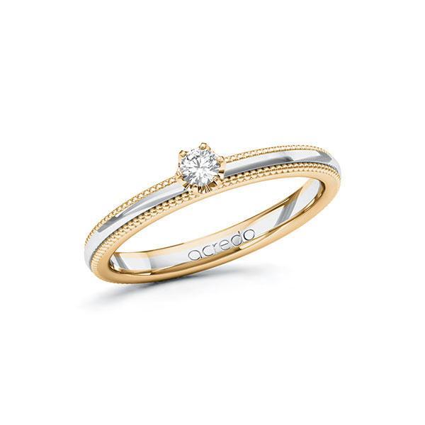 Verlobungsring in Roségold 585 Weißgold 585 mit zus. 0,1 ct. Brillant tw, si von acredo - A-10ZI2R-EWE5-JI99RZ