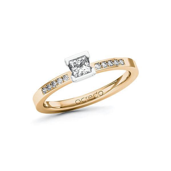 Verlobungsring in Roségold 585 Weißgold 585 mit zus. 0,33 ct. Prinzess-Diamant tw, si von acredo - A-107NI5-EW5-1R82S2Z