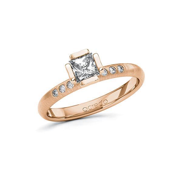 Verlobungsring in Rotgold 585 mit 0,5 ct. + zus. 0,06 ct. Prinzess-Diamant tw, vs tw, si von acredo - A-10GD48-RR5-1S4FK2Z