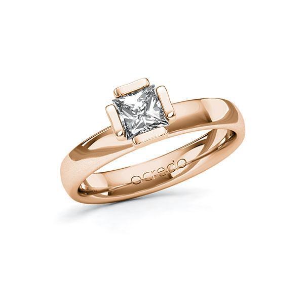 Verlobungsring in Rotgold 585 mit 0,7 ct. Prinzess-Diamant tw, vs von acredo - A-10G50E-RR5-1R46SXZ