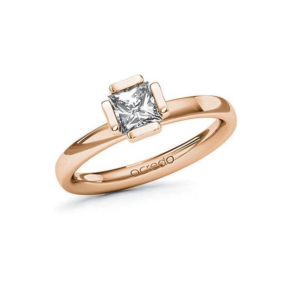 Verlobungsring in Rotgold 585 mit 0,7 ct. Prinzess-Diamant tw, vs von acredo - A-10G5BA-RR5-1R46SXZ