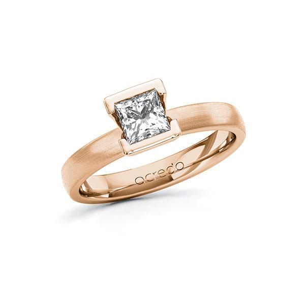 Verlobungsring in Rotgold 585 mit 0,7 ct. Prinzess-Diamant tw, vs von acredo - A-10G5DQ-RR5-1R46T2Z