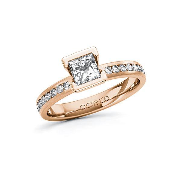 Verlobungsring in Rotgold 585 mit 0,7 ct. + zus. 0,24 ct. Prinzess-Diamant tw, vs tw, si von acredo - A-10FQEU-RR5-1R9YVRZ