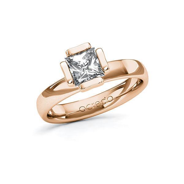 Verlobungsring in Rotgold 585 mit 1 ct. Prinzess-Diamant tw, vs von acredo - A-10G50R-RR5-1QLH3BZ