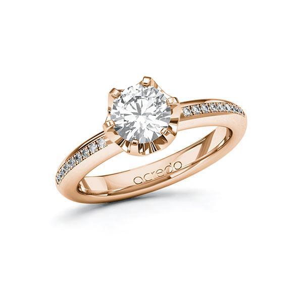 Verlobungsring in Rotgold 585 mit 1 ct. + zus. 0,09 ct. Brillant tw, vs tw, si von acredo - A-10FMY0-RR5-1R5PNRZ