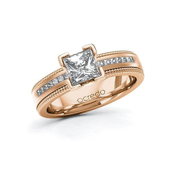 Verlobungsring in Rotgold 585 mit 1 ct. + zus. 0,42 ct. Prinzess-Diamant tw, vs tw, si von acredo - A-11LH75-RRR5-1SWES4Z
