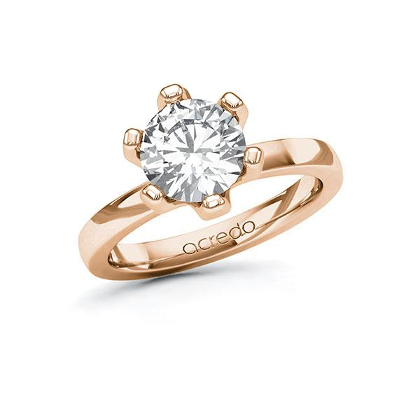 Verlobungsring in Rotgold 585 mit 2 ct. Brillant tw, vs von acredo - A-10ELXH-RR5-1R0SUPZ