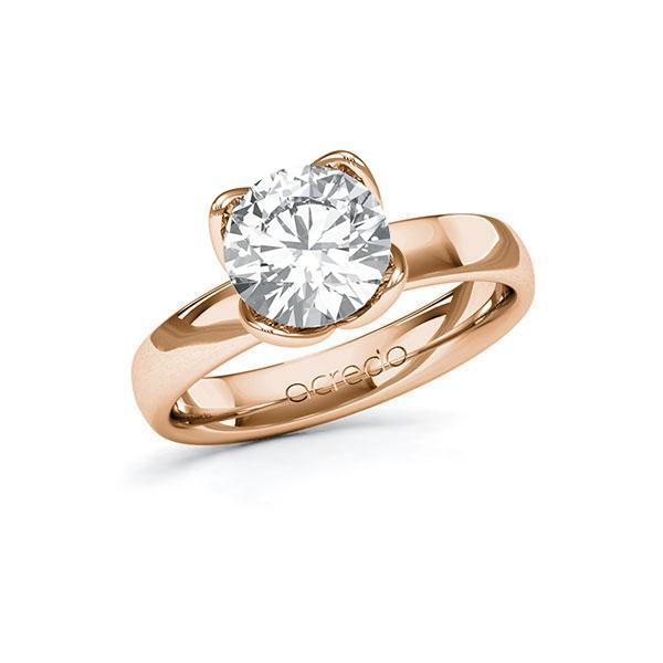 Verlobungsring in Rotgold 585 mit 2 ct. Brillant tw, vs von acredo - A-10FUCE-RR5-1R0P64Z