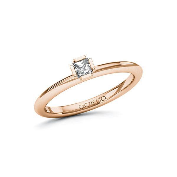 Verlobungsring in Rotgold 585 mit zus. 0,15 ct. Prinzess-Diamant tw, si von acredo - A-10GC7I-RR5-1R46SVZ