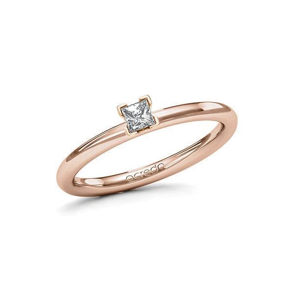 Verlobungsring in Rotgold 585 mit zus. 0,15 ct. Prinzess-Diamant tw, si von acredo - A-115N4Z-RR5-1R3PLBZ