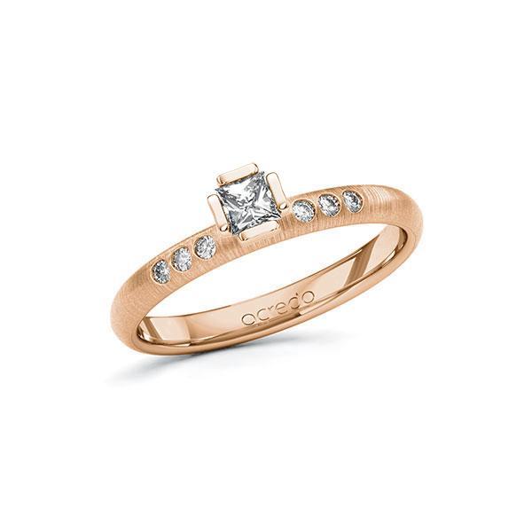 Verlobungsring in Rotgold 585 mit zus. 0,26 ct. Prinzess-Diamant tw, vs tw, si von acredo - A-10GD29-RR5-1S4FD6Z