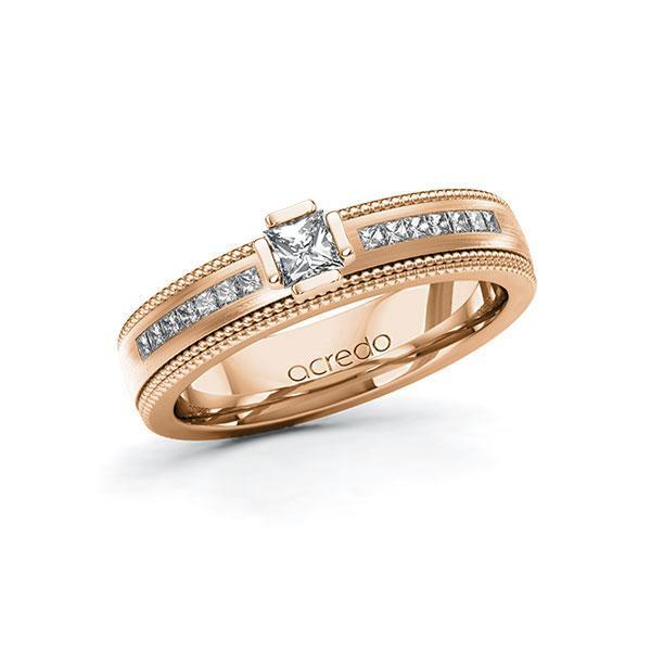 Verlobungsring in Rotgold 585 mit zus. 0,62 ct. Prinzess-Diamant tw, vs tw, si von acredo - A-11LH67-RRR5-1SY8ERZ
