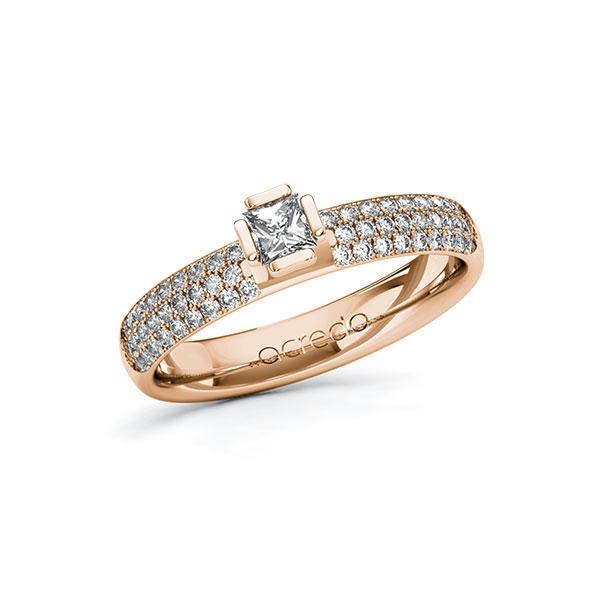 Verlobungsring in Rotgold 585 mit zus. 0,632 ct. Prinzess-Diamant tw, si von acredo - A-10G4ZT-RR5-1R7VYEZ
