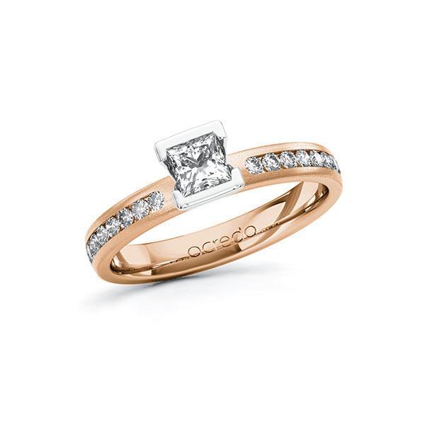 Verlobungsring in Rotgold 585 Weißgold 585 mit 0,4 ct. + zus. 0,24 ct. Prinzess-Diamant tw, vs tw, si von acredo