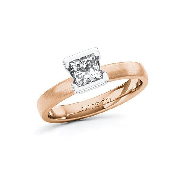Verlobungsring in Rotgold 585 Weißgold 585 mit 0,7 ct. Prinzess-Diamant tw, vs von acredo - A-10G5DU-RW5-1R46T2Z