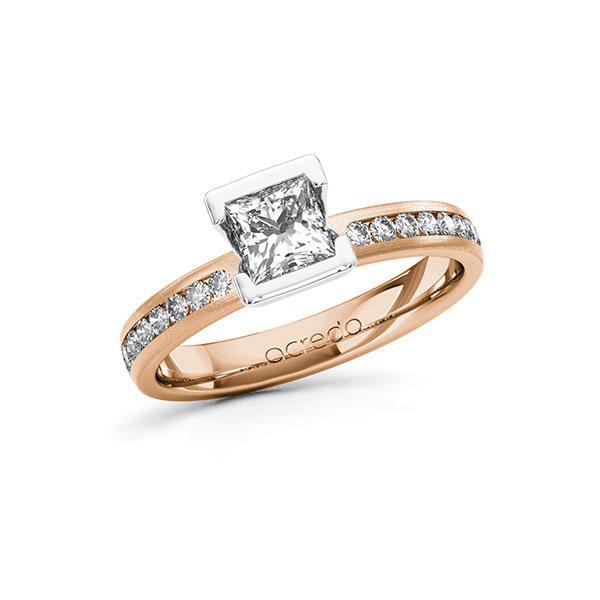 Verlobungsring in Rotgold 585 Weißgold 585 mit 0,7 ct. + zus. 0,24 ct. Prinzess-Diamant tw, vs tw, si von acredo - A-10FQDA-RW5-1R9YVRZ