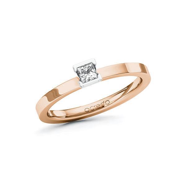 Verlobungsring in Rotgold 585 Weißgold 585 mit zus. 0,15 ct. Prinzess-Diamant tw, si von acredo - A-10GBZ9-RW5-1R471SZ