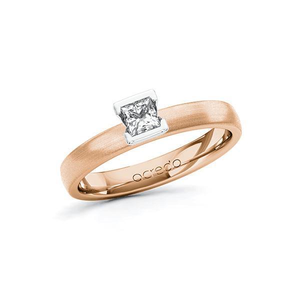 Verlobungsring in Rotgold 585 Weißgold 585 mit zus. 0,25 ct. Prinzess-Diamant tw, si von acredo - A-10G5D6-RW5-1R471TZ
