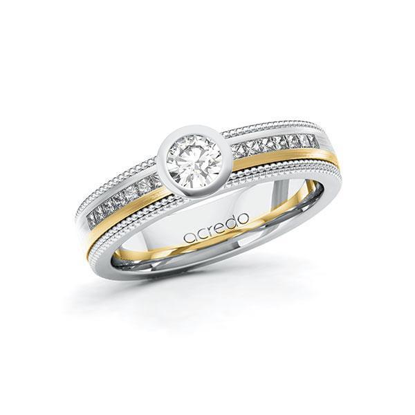 Verlobungsring in Weißgold 585 Gelbgold 585 mit 0,3 ct. + zus. 0,42 ct. Brillant tw, vs tw, si von acredo - A-11LH6I-WGW5-1TUX79Z