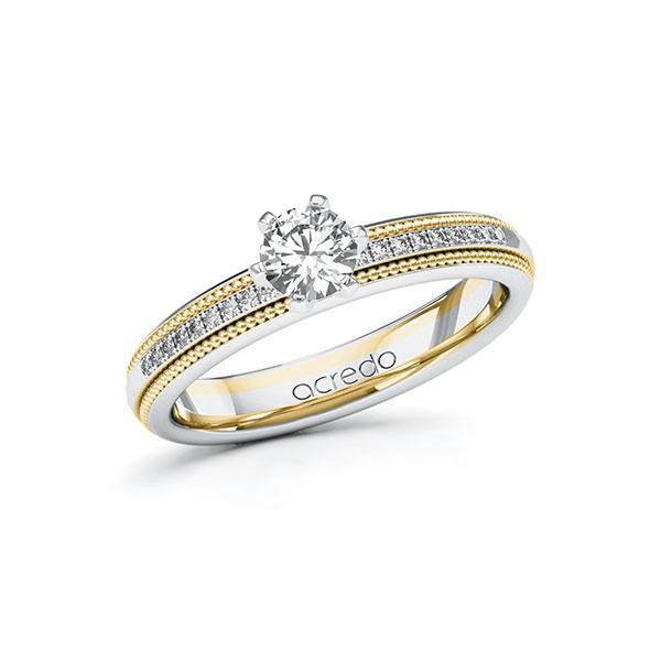 Verlobungsring in Weißgold 585 Gelbgold 585 mit 0,4 ct. + zus. 0,09 ct. Brillant tw, si von acredo - A-11LECW-WGW5-1SVHP6Z