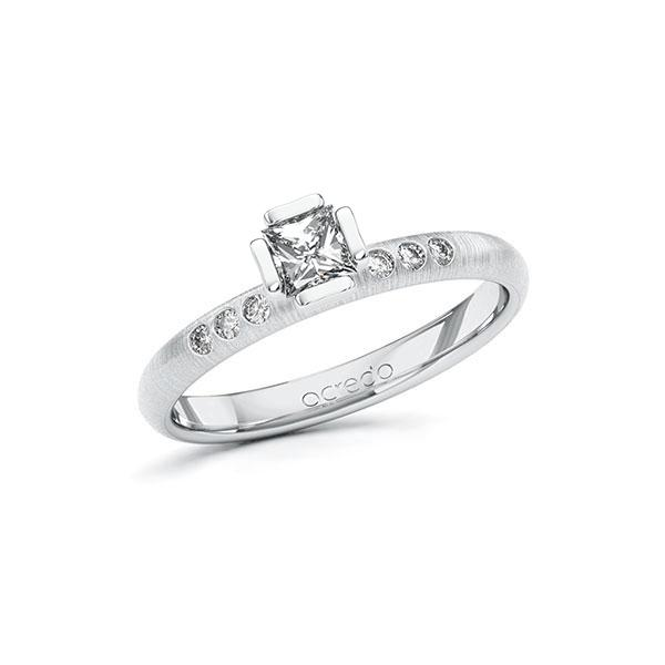 Verlobungsring in Weißgold 585 mit 0,3 ct. + zus. 0,06 ct. Prinzess-Diamant tw, vs tw, si von acredo - A-10GD3X-WW5-1S4FK0Z