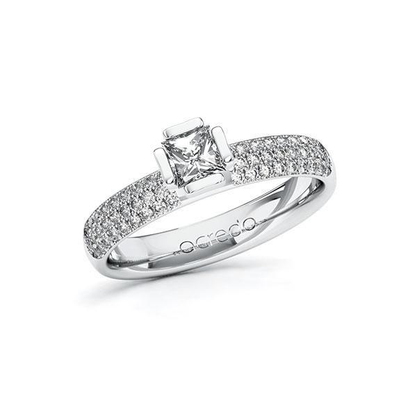 Verlobungsring in Weißgold 585 mit 0,4 ct. + zus. 0,432 ct. Prinzess-Diamant tw, vs tw, si von acredo - A-10G4ZX-WW5-1R7VTHZ