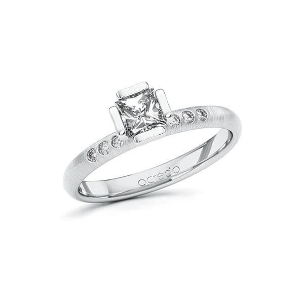 Verlobungsring in Weißgold 585 mit 0,5 ct. + zus. 0,06 ct. Prinzess-Diamant tw, vs tw, si von acredo - A-10GD46-WW5-1S4FK2Z