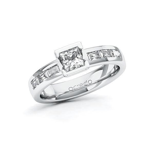 Verlobungsring in Weißgold 585 mit 0,5 ct. + zus. 0,48 ct. Prinzess-Diamant tw, vs von acredo - A-10G3HN-WW5-1RSFMXZ