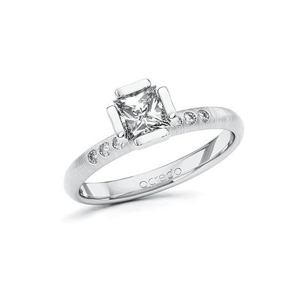 Verlobungsring in Weißgold 585 mit 0,7 ct. + zus. 0,06 ct. Prinzess-Diamant tw, vs tw, si von acredo - A-10GD4J-WW5-1S4FK3Z