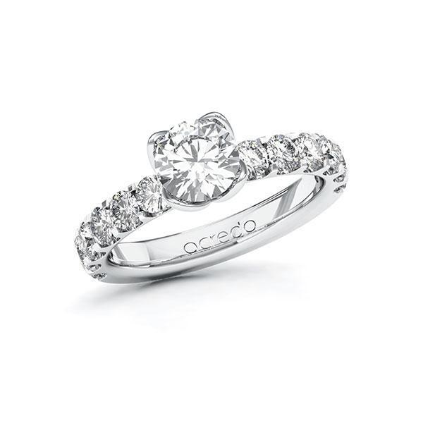 Verlobungsring in Weißgold 585 mit 1 ct. + zus. 1,08 ct. Brillant tw, si von acredo - A-10EJEC-WW5-1R84UNZ