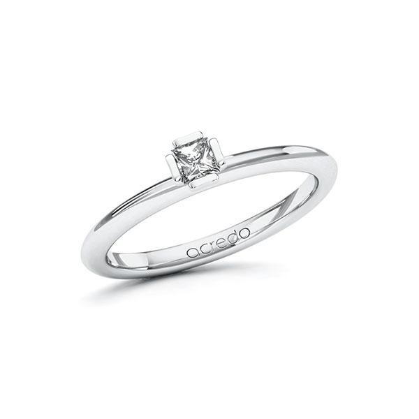 Verlobungsring in Weißgold 585 mit zus. 0,15 ct. Prinzess-Diamant tw, si von acredo - A-10GC7D-WW5-1R46SVZ