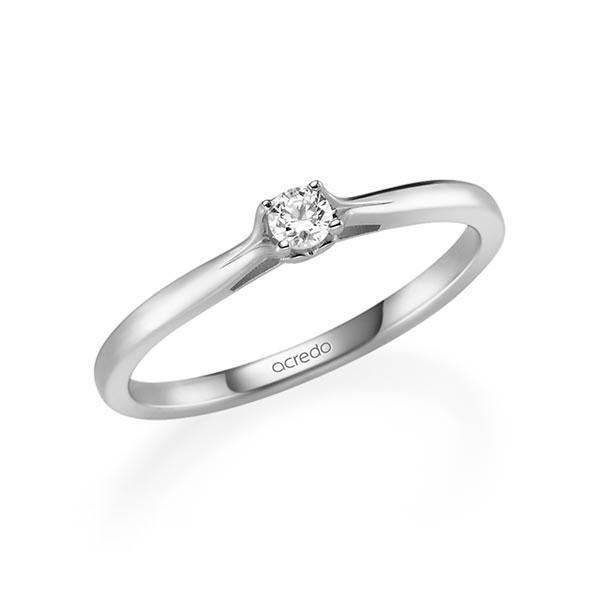 Verlobungsring in Weißgold 585 mit zus. 0,1 ct. Brillant tw, si von acredo - A-11Q8UR-W5-1TWF1Z