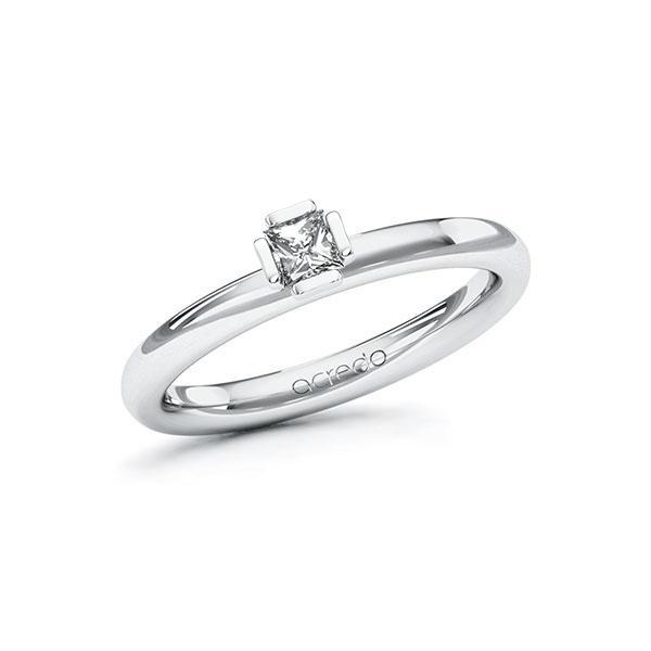 Verlobungsring in Weißgold 585 mit zus. 0,2 ct. Prinzess-Diamant tw, si von acredo - A-ZWM78-WW5-1R0P6QZ