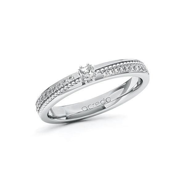 Verlobungsring in Weißgold 585 mit zus. 0,396 ct. Prinzess-Diamant tw, vs tw, si von acredo - A-10ZGSI-WWW5-1SWDBDZ