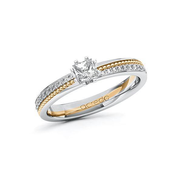 Verlobungsring in Weißgold 585 Roségold 585 mit 0,3 ct. + zus. 0,296 ct. Prinzess-Diamant tw, vs tw, si von acredo - A-10ZH4H-WEW5-1SWDBHZ