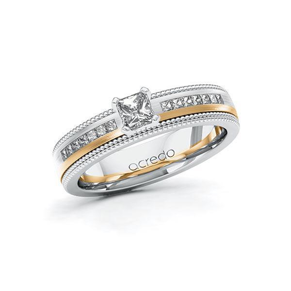 Verlobungsring in Weißgold 585 Roségold 585 mit 0,3 ct. + zus. 0,42 ct. Brillant tw, vs tw, si von acredo - A-11LH6H-WEW5-1SVHMJZ