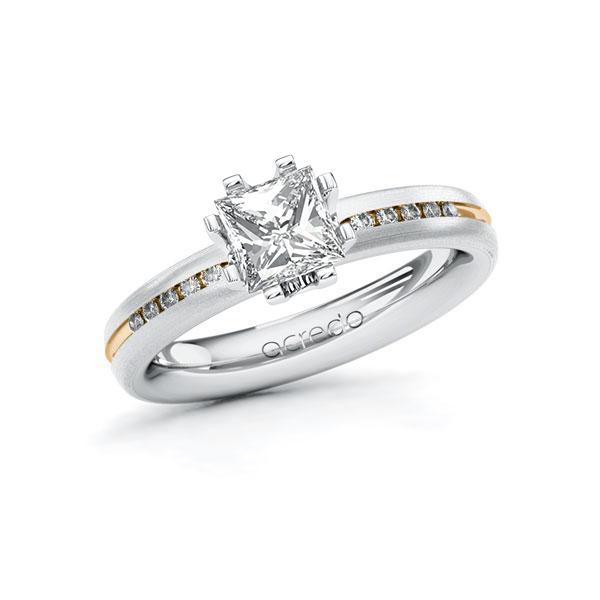Verlobungsring in Weißgold 585 Roségold 585 mit 1 ct. + zus. 0,08 ct. Prinzess-Diamant tw, vs tw, si von acredo - A-10UFST-WEW5-1RG7TAZ