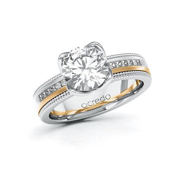 Verlobungsring in Weißgold 585 Roségold 585 mit 2 ct. + zus. 0,42 ct. Brillant tw, vs tw, si von acredo - A-11LHEB-WEW5-1SZ8VJZ