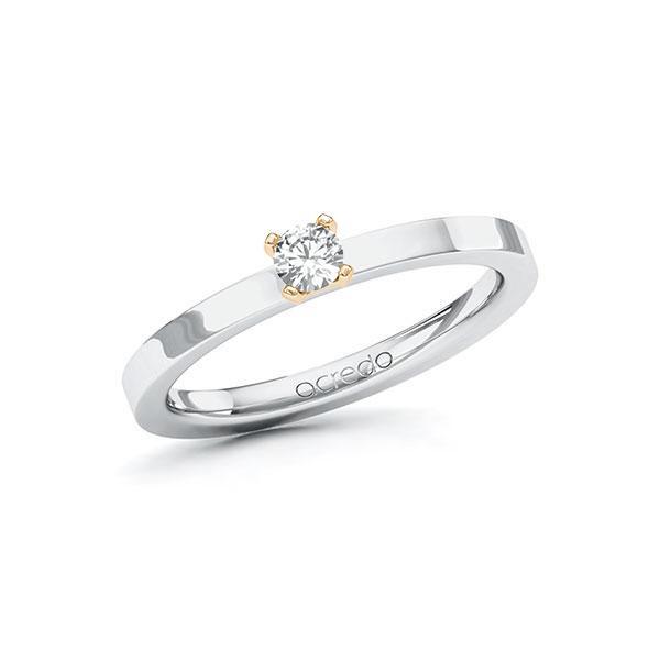 Verlobungsring in Weißgold 585 Roségold 585 mit zus. 0,15 ct. Brillant tw, si von acredo - A-ZWMMX-WE5-1R0QNGZ