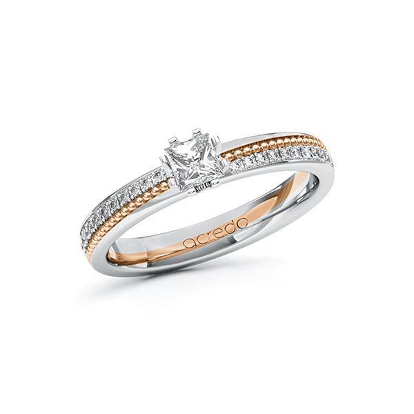 Verlobungsring in Weißgold 585 Rotgold 585 mit 0,3 ct. + zus. 0,296 ct. Prinzess-Diamant tw, vs tw, si von acredo - A-10ZH4S-WRW5-1SWDBHZ