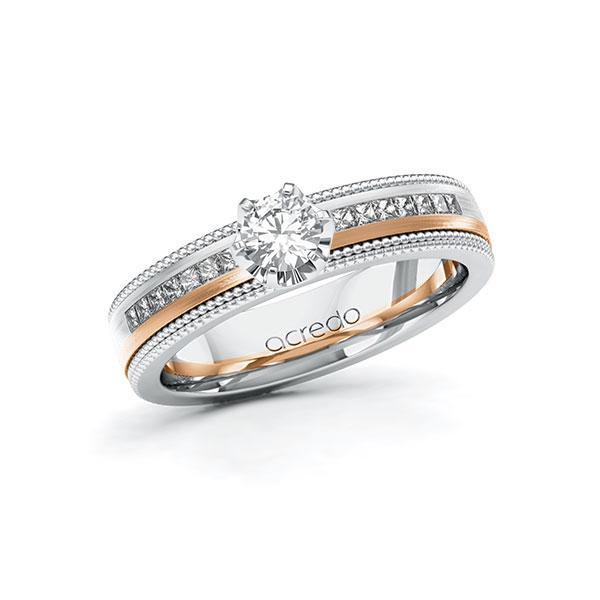 Verlobungsring in Weißgold 585 Rotgold 585 mit 0,3 ct. + zus. 0,42 ct. Brillant tw, vs tw, si von acredo - A-11LH6K-WRW5-1SW5VMZ