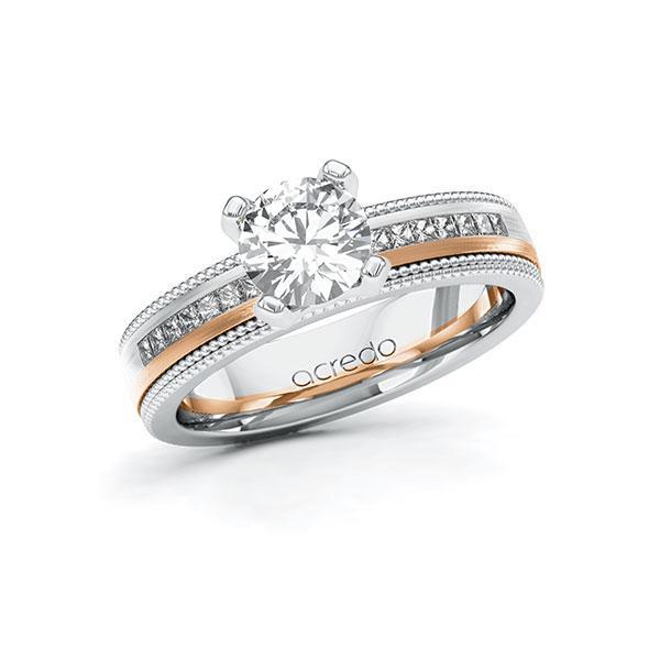 Verlobungsring in Weißgold 585 Rotgold 585 mit 1 ct. + zus. 0,42 ct. Brillant tw, vs tw, si von acredo - A-11LH72-WRW5-1TBK87Z