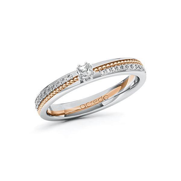 Verlobungsring in Weißgold 585 Rotgold 585 mit zus. 0,396 ct. Prinzess-Diamant tw, vs tw, si von acredo - A-10ZGSF-WRW5-1SWDBDZ