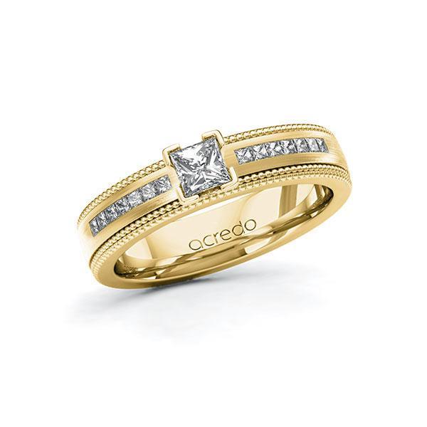 Verlovingsring in geelgoud 14 kt. met 0,3 ct. + in totaal 0,42 ct. Princess-Diamant tw,vs tw/si van acredo - A-11LH6M-GGG5-1SYRDFZ
