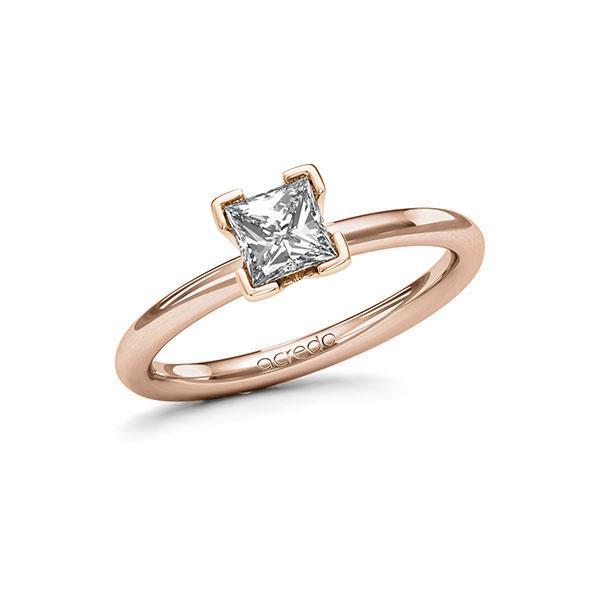 Verlovingsring in roodgoud 14 kt. met 0,7 ct. Princess-Diamant tw,vs van acredo - A-115N5H-RR5-1R3PLCZ