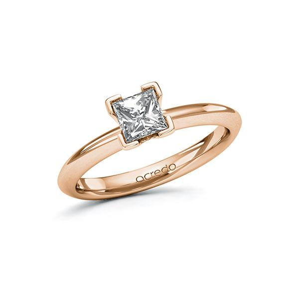 Verlovingsring in roodgoud 14 kt. met 0,7 ct. Princess-Diamant tw,vs van acredo - A-11ZM0F-RR5-1R3PLCZ