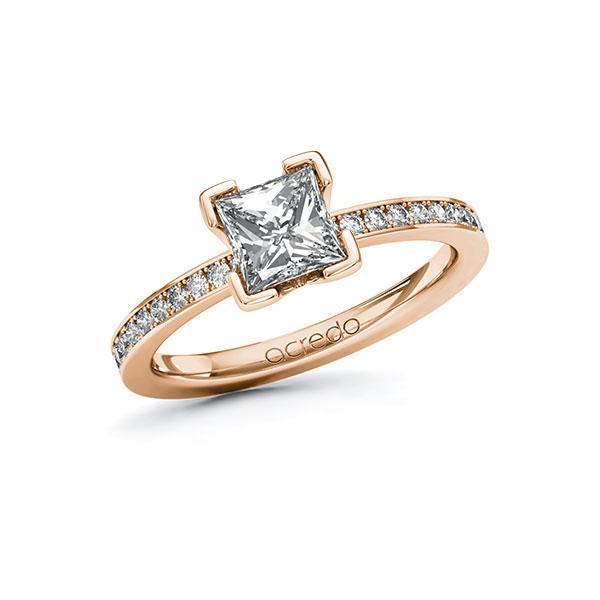 Verlovingsring in roodgoud 14 kt. met 1 ct. + in totaal 0,2 ct. Princess-Diamant tw,vs tw/si van acredo - A-10FK9D-RR5-1R8BKRZ